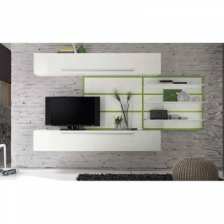 Composition TV design PRIMERA SOFT blanc brillant et vert