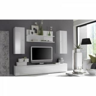 Composition murale TV design PRIMERA 6 blanc brillant