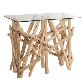 Console rectangulaire nature SEVA verre et branches en bois naturel.