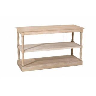 Console double étagères ROMANE en bois de paulownia