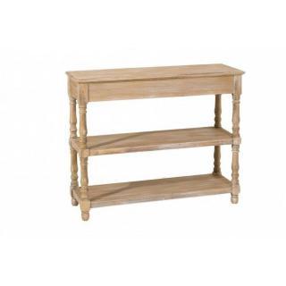 Console double étagères SARAH en bois de paulownia style campagne