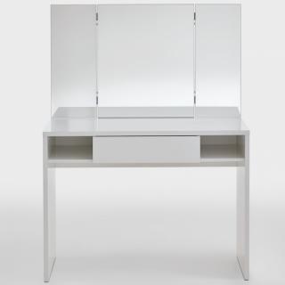 Console coiffeuse design SARREGUEMINES coloris blanc brillant noble 1 tiroir 2 plateaux fixes