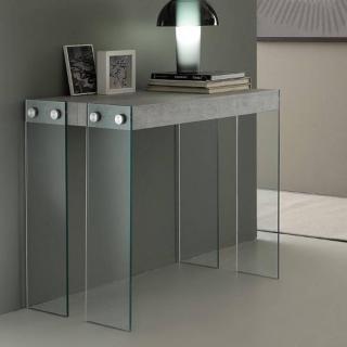Table console extensible ICEBERG mélaminé gris ciment avec piétement en verre 10 mm.