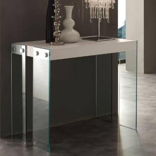 Table console extensible ICEBERG mélaminé blanc avec piétement en verre 10 mm.