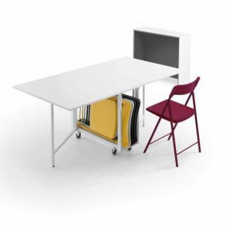 Console extensible Design BALTO avec tables dépliables/chaises intégrées Blanc Mat/Structure Blanc