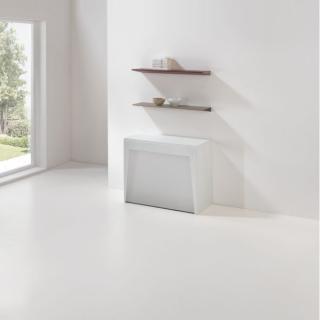 Table console extensible Design COLISEO S avec rallonges/chaises intégrées Blanc Mat/Structure Blanc Largeur 90cm