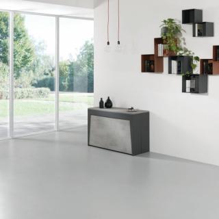 Table console extensible Design COLISEO XL avec rallonges/chaises intégrées Gris béton/Structure Gris ardoise 120cm