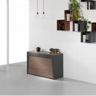 Table console extensible Design COLISEO XL avec rallonges/chaises intégrées Noyer/Structure Gris ardoise 120cm