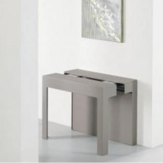 Table console extensible Design ODYSSE S avec rallonges intégrées Gris Taupe/Structure Gris taupe Largeur 90cm
