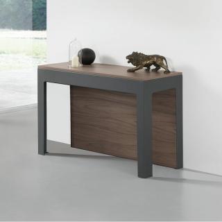 Table console extensible Design ODYSSE avec rallonges intégrées Noyer/Structure Gris Ardoise