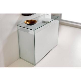 Ensemble Console verre transparent et console extensible PROTEO GLASS blanc mat