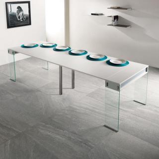 Table console extensible STEF blanc mat piétement en verre largeur 90 cm