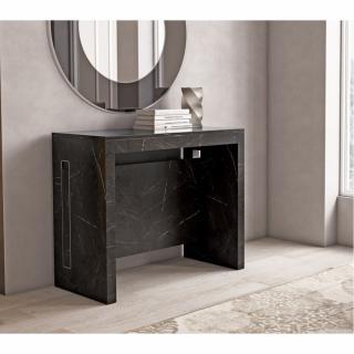 Table console extensible 8 couverts TOPAZ 90 cm marbre noir avec allonges intégrées