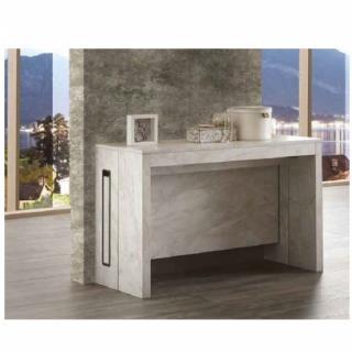 Console extensible EXODUS finition mélaminé effet marbre blanc L 120 cm 3 allonges.