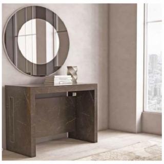 Table console extensible EXODUS finition mélaminé effet marbre noir L 120 cm 3 allonges.