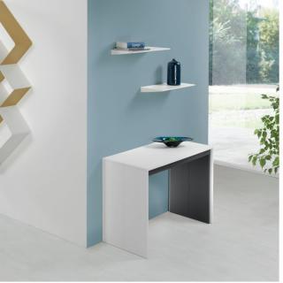 Table console extensible FORDA XL blanc/cadre gris ardoise largeur 120cm*270cm