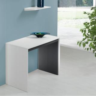 Table console extensible FORDA blanc/cadre gris ardoise largeur 90cm*270cm