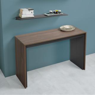 Table console extensible FORDA XL Noyer/cadre gris ardoise largeur 120cm*270cm