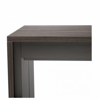 Console extensible FORDA Noyer foncé/cadre gris ardoise largeur 90cm*270cm