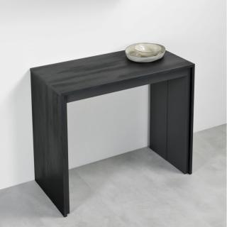 Table console extensible FORDA noir charbon/cadre gris ardoise largeur 90cm