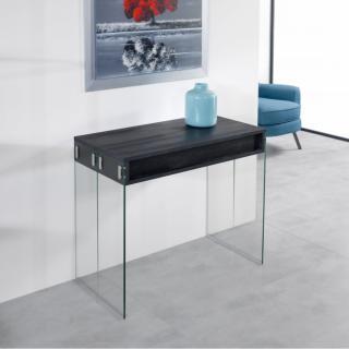 Table console extensible STEF coloris noir charbon piétement en verre