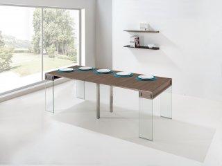 Table console extensible STEF coloris noyer piétement en verre