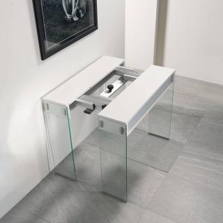 Table console extensible STEF chêne blanc piétement en verre largeur 90 cm