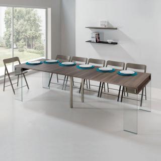 Table console extensible STEF XL coloris noyer piétement en verre