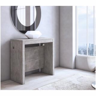 Table console extensible GRANDEZZA effet béton jusqu'à 8 couverts avec allonges intégrées