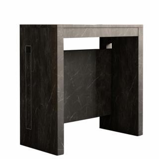 Table console extensible GRANDEZZA marbre noir jusqu'à 8 couverts avec allonges intégrées