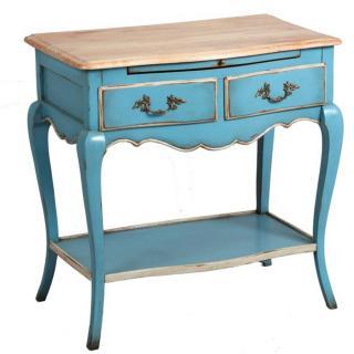 Console GODEFROY bleu de style régence 2 tiroirs