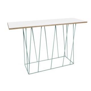 Tema Home Console design HELIX blanche mate/bois structure laquée verte