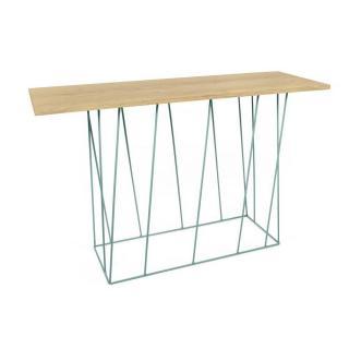 Tema Home Console design HELIX chêne structure laquée verte