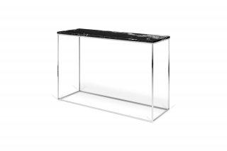 Console design GLEAM en marbre noir et pieds chromés