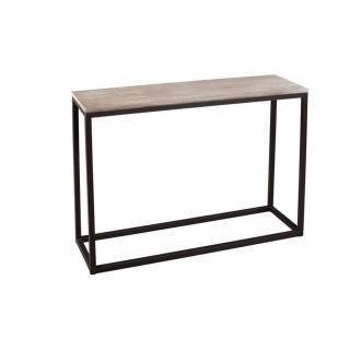 Console rectangulaire LEA en bois de paulownia et en métal style industriel
