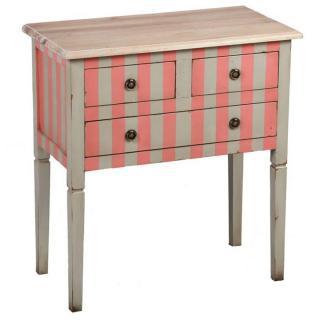 Console JOSEPHINE grise/rose à rayures de style régence 3 tiroirs