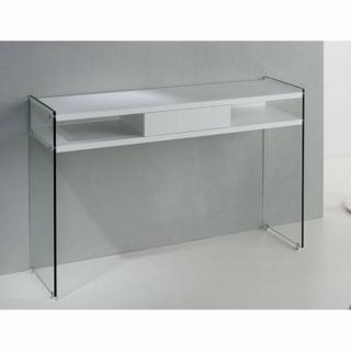 Console MARION design blanc mat piétement en verre