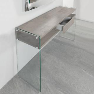 Console avec tiroir MARION design couleur gris béton piétement en verre