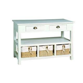 console design ultra tendance au meilleur prix console natura blanche avec 3 paniers en osiers. Black Bedroom Furniture Sets. Home Design Ideas