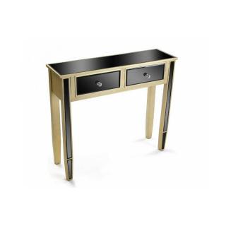 Console en verre noir design doré 2 tiroirs VARESE