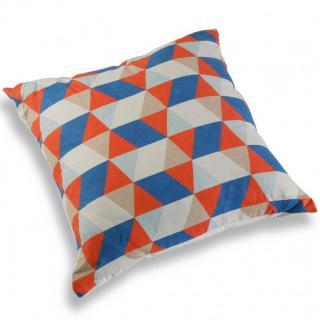 Coussin GAMI motif géométrie orange et bleu