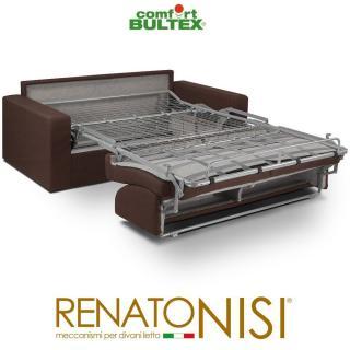 Canapé convertible rapido CRÉPUSCULE matelas 120cm comfort BULTEX® tissu neo marron
