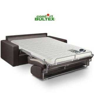Canapé convertible rapido CRÉPUSCULE matelas 120cm comfort BULTEX® tweed marron chocolat
