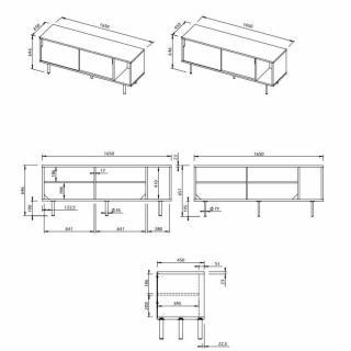 DANN buffet design chêne avec portes grise et blanche piétement acier noir