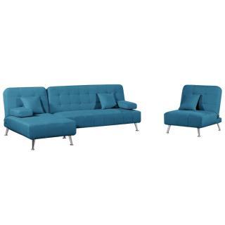 Ensemble DANTE convertible 3 pièces canapé méridienne fauteuil tissu tweed bleu azur