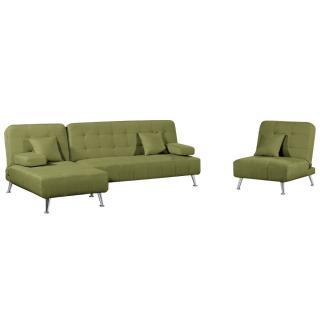 Ensemble DANTE convertible 3 pièces canapé méridienne fauteuil tissu tweed vert