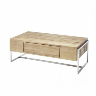 Table basse DARIO 110 X 60 cm chêne finition huilée 1 tiroir