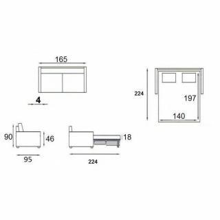Canapé lit compact DENSO EXPRESS matelas 18cm