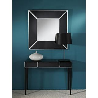 DIAMANT Ensemble console et miroir en verre noir