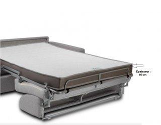 Canapé express 160 cm DREAMER EDITION Cuir et PU Cayenne gris matelas 16 cm